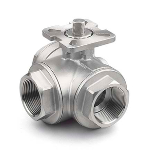 3 Way Stainless Steel Ball Valves with Mounting Pad
